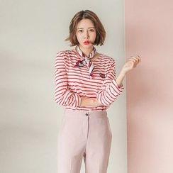 Seoul Fashion - Round-Neck 'LOVE' Patch Striped T-Shirt