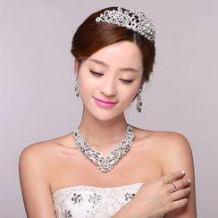 Suaylla - Set : Embellished Tiara + Earrings + Necklace