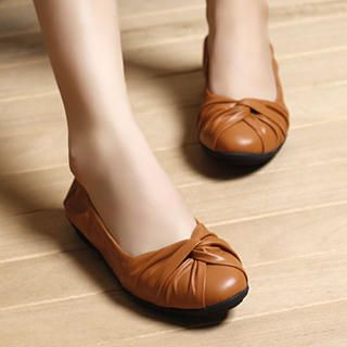 Lane172 - Genuine-Leather Knot-Accent Flats