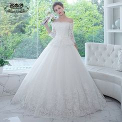 MSSBridal - Off Shoulder 3/4-Sleeve Maternity Wedding Ball Gown