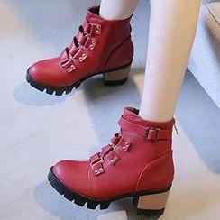 Gizmal Boots - 饰扣粗跟靴