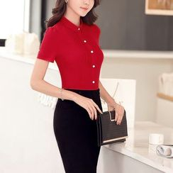 Princess Min - Short-Sleeve Shirt / Pencil Skirt