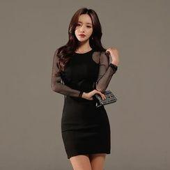Gl.bY - Long-Sleeve Sheer Panel Cut Out Sheath Dress