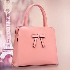 LineShow - Bow Accent Faux Leather Tote