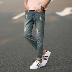 Keerme - Distressed Slim-Fit Pants