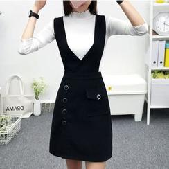 Cottony - 套装: 高领针织上衣 + 背带裙配腰带