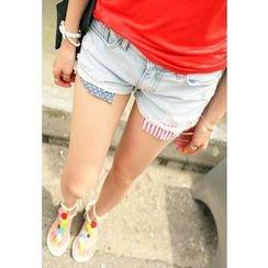REDOPIN - Denim Distressed Shorts