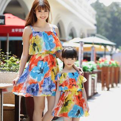 Igsoo - Family Frilled Floral Print Strappy Dress