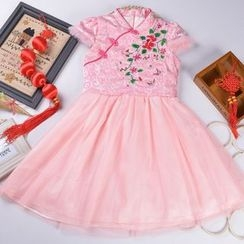 OnCloud - Kids Short-Sleeve Embroidered Traditional Chinese Dress