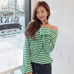 Seoul Fashion - Off-Shoulder Turn-Up Sleeve Striped Top