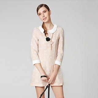O.SA - Contrast-Trim Lace Dress