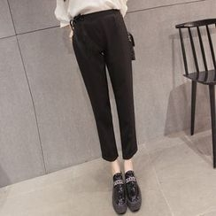 Cottony - Elastic Waist Cropped Tapered Dress Pants