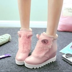 Pastel Pairs - Furry Trim Hidden Wedge Ankle Boots