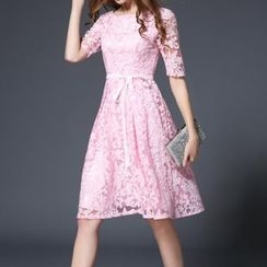 Sugar Town - Elbow-Sleeve Embroidered A-Line Dress