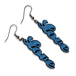 Sweet & Co. - Sweet Blue Glitter Love Dangle Earrings
