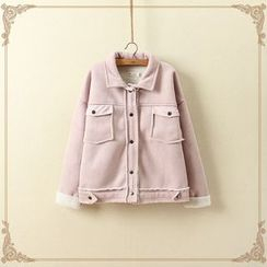 aerokiss - Faux Suede Buttoned Jacket