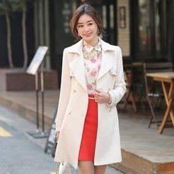 Styleonme - Double-Breasted Contrast-Trim Trench Coat