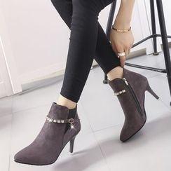 Yoflap - Rhinestone Heeled Ankle Boots