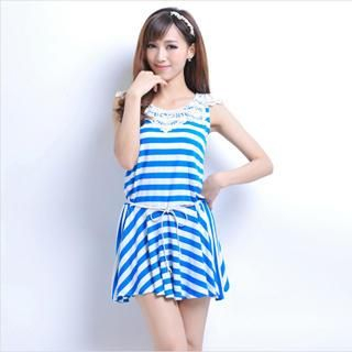 Flenkiy - Sleeveless Crochet Neckline Striped Dress