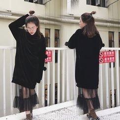 Karnel - Set: Pom Pom Turtleneck Velvet Pullover Dress + Midi Tulle Skirt