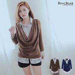 RingBear - Inset Shirt Draped-Front Knit Top