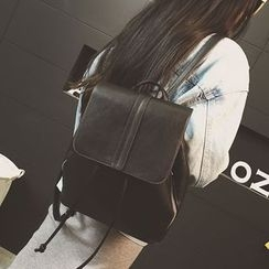 Hase Babe - Faux Leather Drawstring Backpack