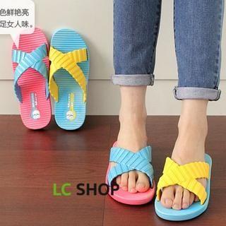 Lazy Corner - Color-Block Cross-Strap Slippers
