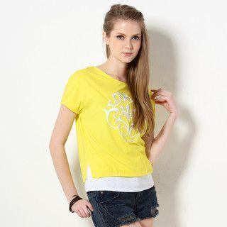 59 Seconds - Embroidered Peplum Hem T-Shirt