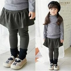 LILIPURRI - Girls Inset Skirt Brushed Fleece Leggings
