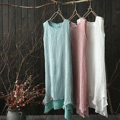 Rosadame - Frilled Linen-Blend Tank Dress