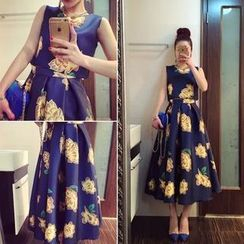 QZ Lady - Set: Floral Sleeveless Cropped Top + A-Line Maxi Skirt