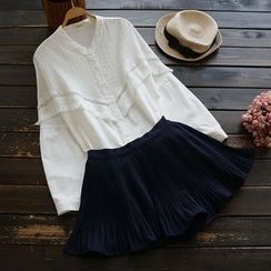 YOYO - Fringed Pintuck Blouse