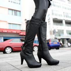 SO Central - Buckled Side-Zipper Tall Boots