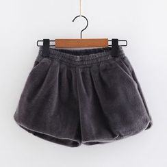 Piko - Plain Furry Wide Leg Shorts
