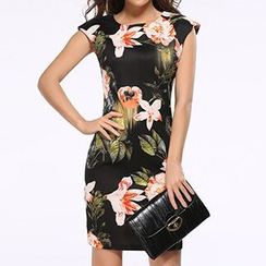 LIVA GIRL - Flower Print Cap-Sleeve Sheath Dress