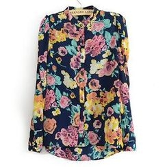 Neeya - Long-Sleeve Floral Print Blouse