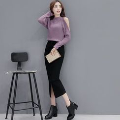 Romantica - Set: Long-Sleeve Cutout-Shoulder Knit Top + Slit-Front Skirt