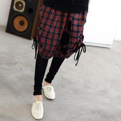 59 Seconds - Inset Leggings Midi Plaid Skirt