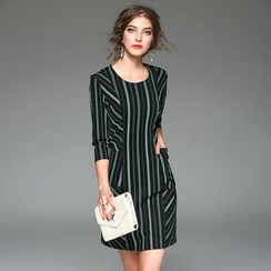 Y:Q - 3/4-Sleeve Striped Shift Dress