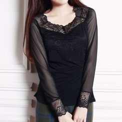 camikiss - Lace Panel Sheer Mesh Long-Sleeve Top