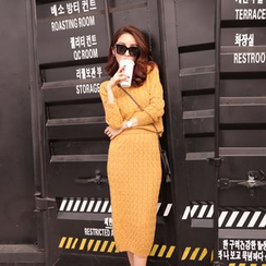 Tang House - Set: Cable Knit Sweater + Knit Midi Skirt