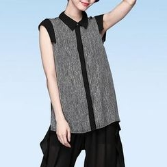 Mythmax - Sleeveless Stripe-Panel Blouse