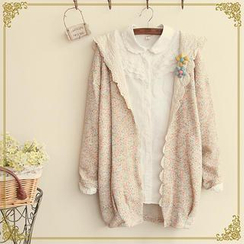 Fairyland - Lace Trim Melange Hooded Cardigan