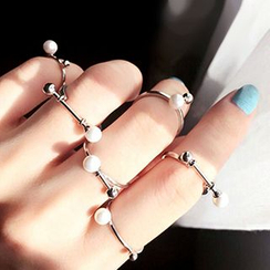 True Glam - Set of 5: Faux-Pearl Ring