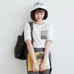 Forest Girl - Stripe Pocket Short-Sleeve T-Shirt