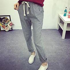 Heybabe - Stripe Drawstring Pants