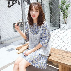 Napkiki - Set: Floral T-Shirt Dress + Tank Top