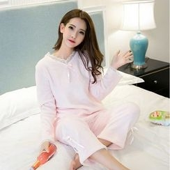 Jolly Club - Pajama Set: Long-Sleeve Paneled Top + Pants