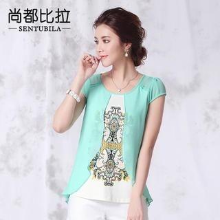 Sentubila - Cap-Sleeve Rhinestone Print T-Shirt