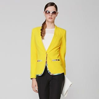 O.SA - V-Neck Printed-Trim Blazer